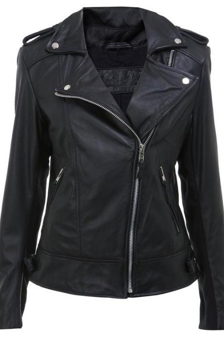 Handmade women black leather jacket,