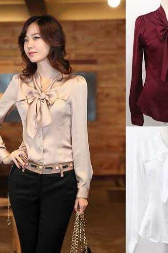 Women Fashion Big Bowknot Imitate Silk shirts White Beige Wine-Red Size M L XL