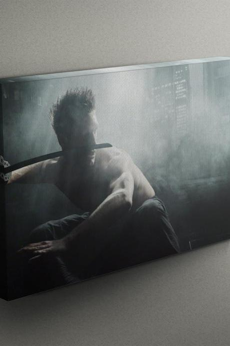 Superhero Moving with Sword - Fine Art Photograph on Gallery Wrapped Canvas - 16x12' & more