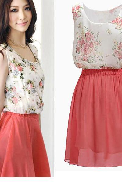 Fashion Summer Chiffon Sundress Newest Spring Womens Flower Sleeveless Dress, Beach Dresses Pink