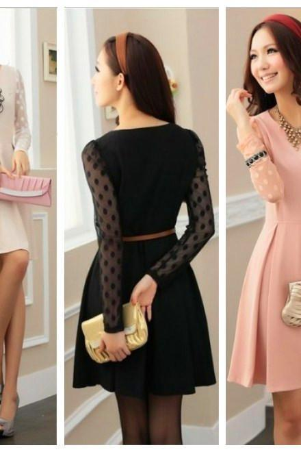 cotton blend gauze apricot black pink long sleeve big size casual dress women dresses new fashion