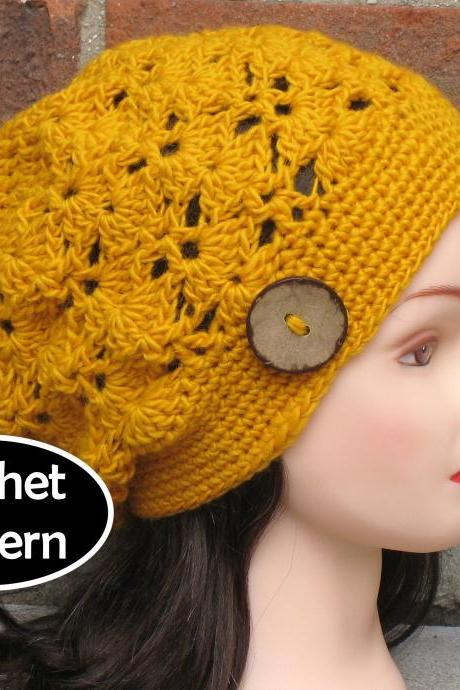 CROCHET HAT PATTERN - Lotte Slouchy Beanie Beret Hat Women Teen Fall Winter