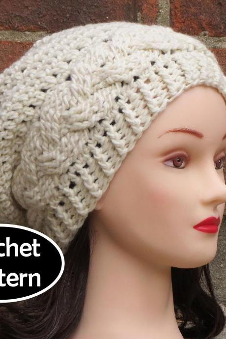 CROCHET HAT PATTERN - JULIA Slouchy Beanie Hat Fall Winter Braid Cabled PDF Pattern Women Teen
