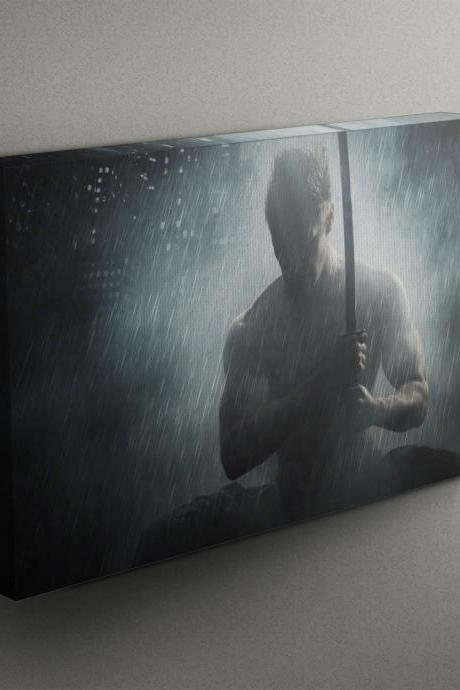Superhero Posing with Sword - Fine Art Photograph on Gallery Wrapped Canvas - 16x12' & more
