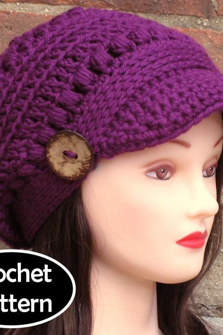 CROCHET HAT PATTERN - Brooklyn Newsboy Hat Slouchy Beanie Women Teen Fall Winter PDF Pattern