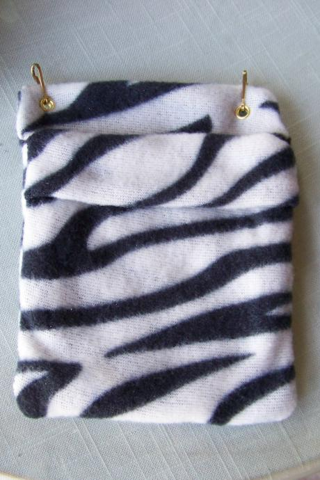 FLEECE BONDING POUCH for Small Pets - Black and White Zebra Stripe patterned Fleece - 5x6 inches