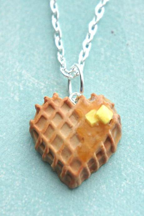 heart waffle necklace