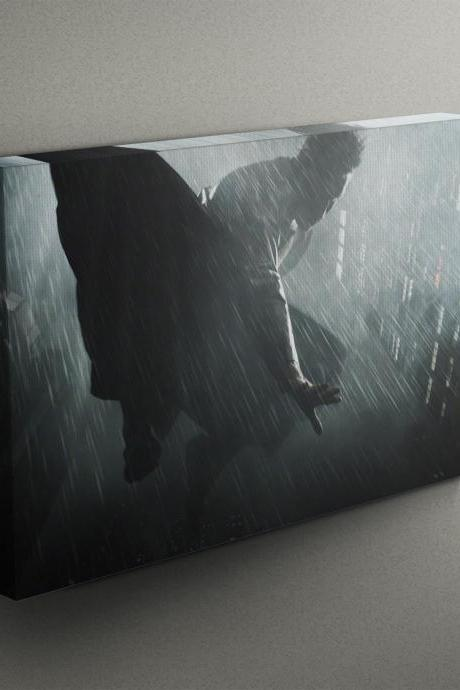 Superhero Flying Through The Rain - Fine Art Photograph on Gallery Wrapped Canvas - 16x12' & more