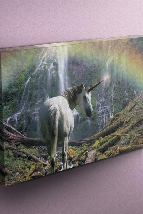 Unicorn Near Waterfall with Rainbow - Fine Art Photograph on Gallery Wrapped Canvas - 16x12' & more