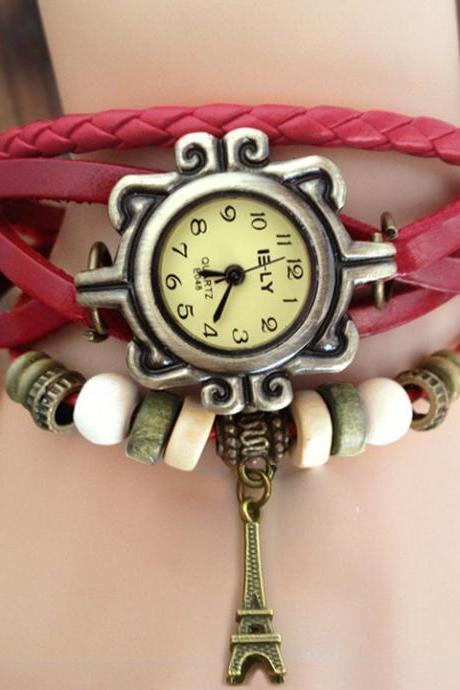 Iron Tower Leather Wrist Watch Bracelet