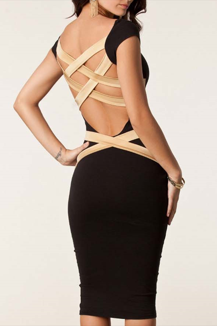 Exclusive Black Open Back Dress with Cap Sleeve