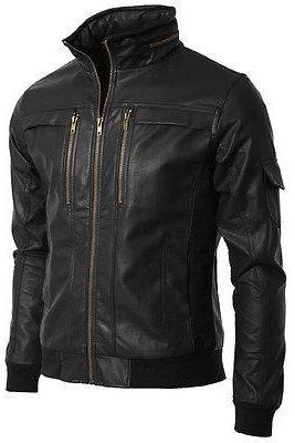 Men stand collar leather jacket, men black leather jacket