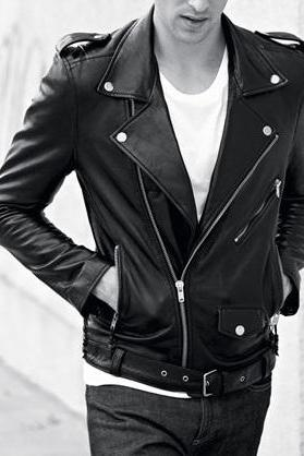 Men black real leather jacket, men biker leather jacket, REAL leather jacket