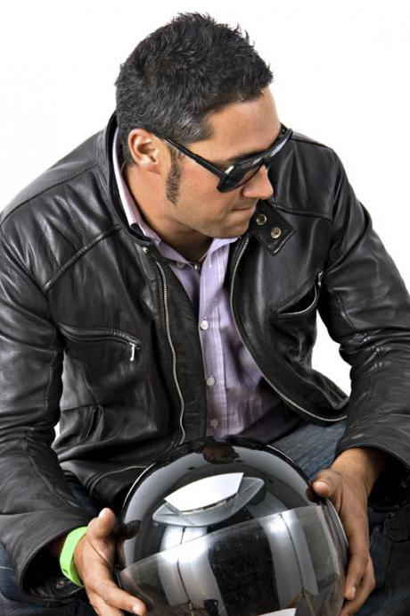 Men biker leather jacket, black real leather jacket