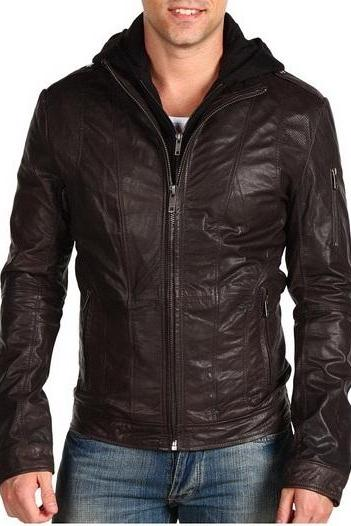 Men brown fabric hooded leather jacket,men brown real leather jacket,leather jacket men