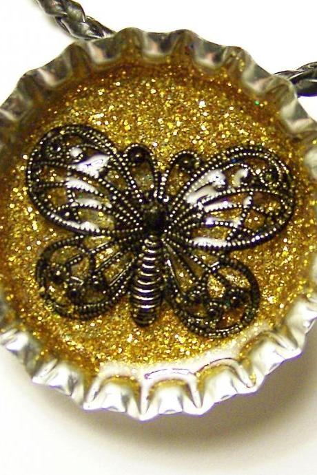 BOTTLE CAP PENDANT - Gold micro Glitter Background, Black Filigree Butterfly - magnet on back to use with washer necklaces