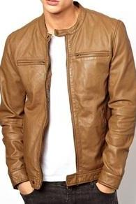 MEN REAL LEATHER JACKET , MEN TAN BROWN LEATHER JACKET