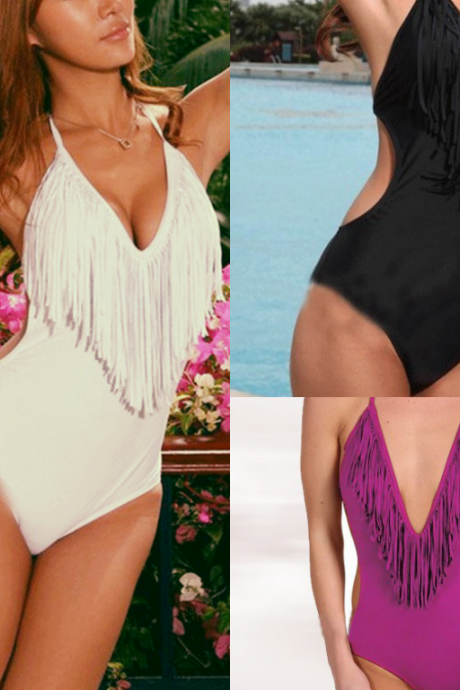 new fashion sexy White black or purple Ultra-sexy V-neck Fringe one piece Monokini Black Women Swimsuit S M L