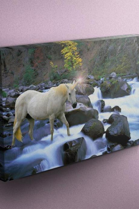 Unicorn Crossing River - Fine Art Photograph on Gallery Wrapped Canvas - 16x12' & more