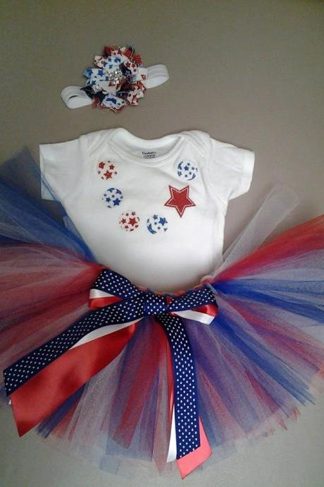 Fourth of July applique necklace outfit with matching shabby flower headband, Independence day, 4th of July set