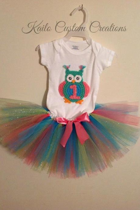 Free US Shipping! First, Second, Third birthday tutu outfit, newborn baby child toddler photo prop with crochet owl applique