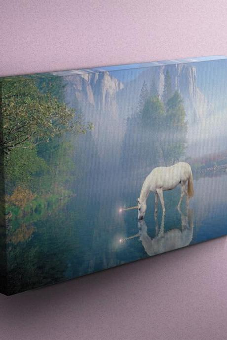 Unicorn Drinking from River - Fine Art Photograph on Gallery Wrapped Canvas - 16x12' & more