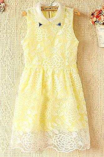 Flowers Sleeveless Lace Collar Cultivate One's Morality Dress The Doll