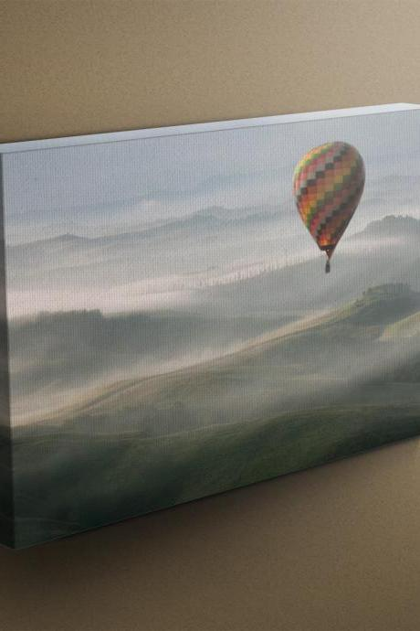 Hot Air Balloon over Tuscany - Fine Art Photograph on Gallery Wrapped Canvas - 16x12' & more
