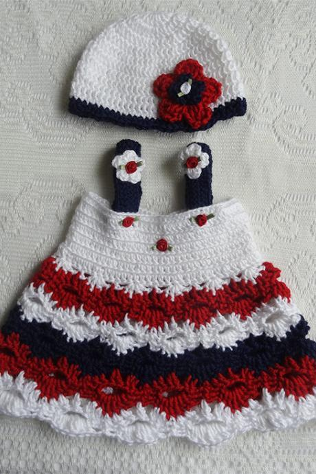 READY FOR SHIPPING Patriotic Newborn Dress for 0-3 Months Little Girl with Matching Hat