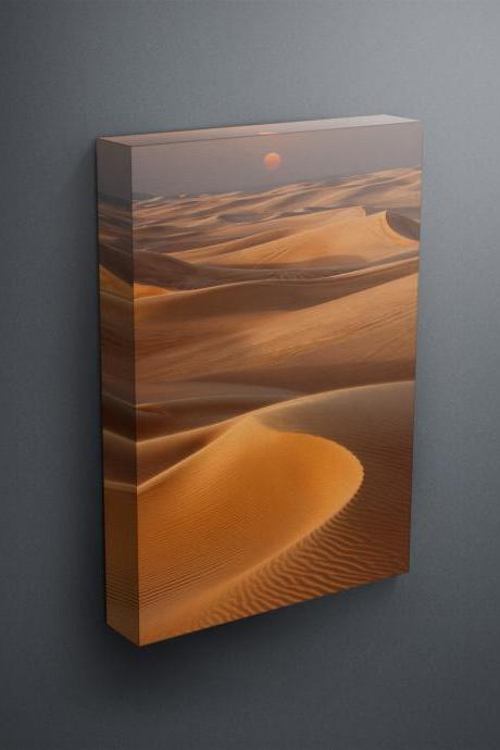 Sunset over sand dunes - Fine Art Photograph on Gallery Wrapped Canvas - 16x12' & more