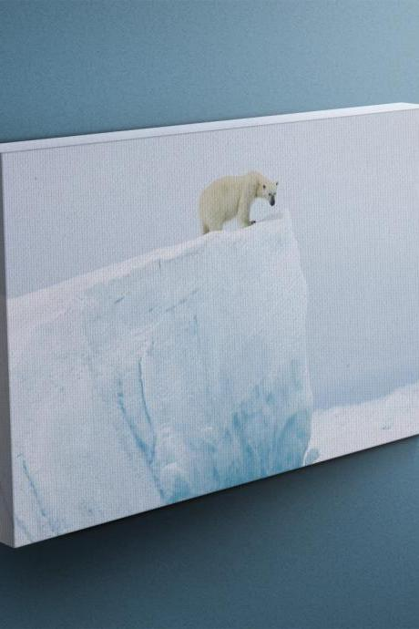 Polar Bear on Iceberg - Fine Art Photograph on Gallery Wrapped Canvas - 16x12' & more