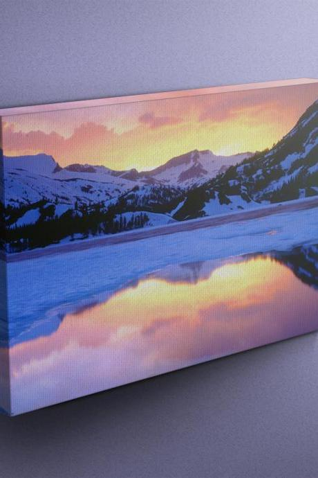 Icy Lake in Mountains - Fine Art Photograph on Gallery Wrapped Canvas - 16x12' & more