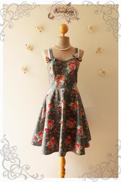 ALICE : Vintage Inspired Floral Dress Dark Royal Green w/ Red Pink Rose Floral Bridesmaid Dress Floral Summer Dress -Size XS,S,M,L,XL
