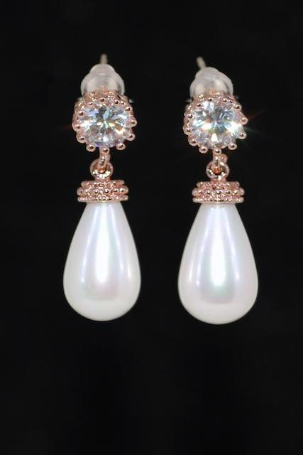 Wedding Jewelry, Bridal Earrings, Bridesmaid MOH Gift - Rose Gold Plated Round Cubic Zirconia Earring with White Briolette Pearl (E697)