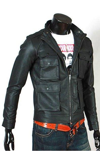 Men's Expressive Black Biker Leather Jacket