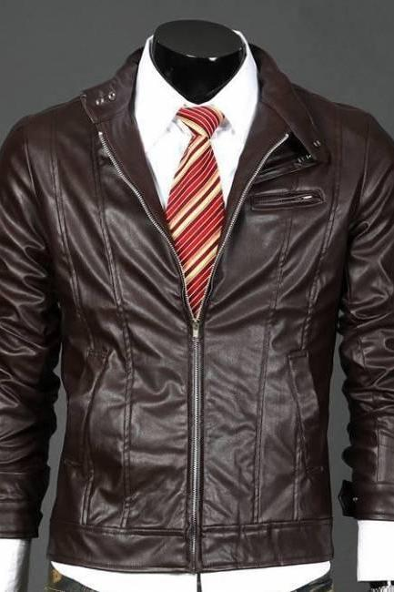 Men handmade brown leather jackket front flap pocket belted collar
