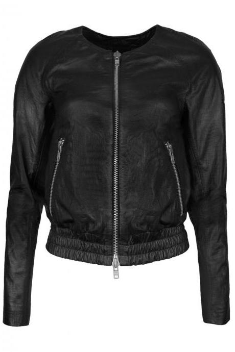 Women Leather Bomber Jacket , real cowhide collarless leather jacket
