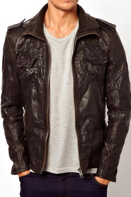 Handmade men leather jacket, leather jacket for men, real leather jacket