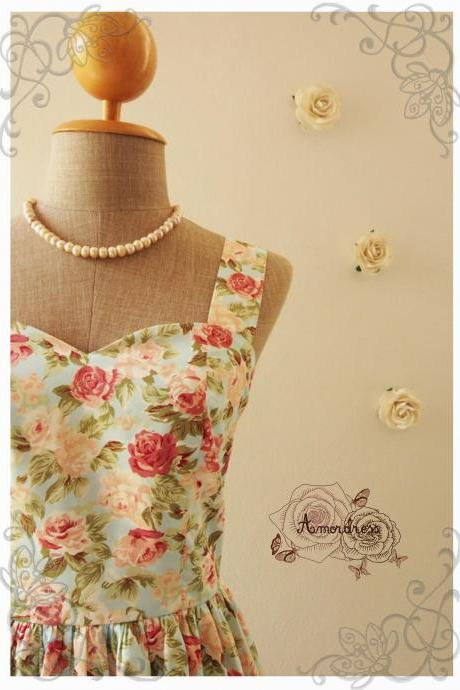 Vintage Inspired Dress Strap Dress Romantic Blue Pink Rose FLoral Dress Party Tea Dress Cotton Once Upon a Time -Size XS, S, M, L, XL