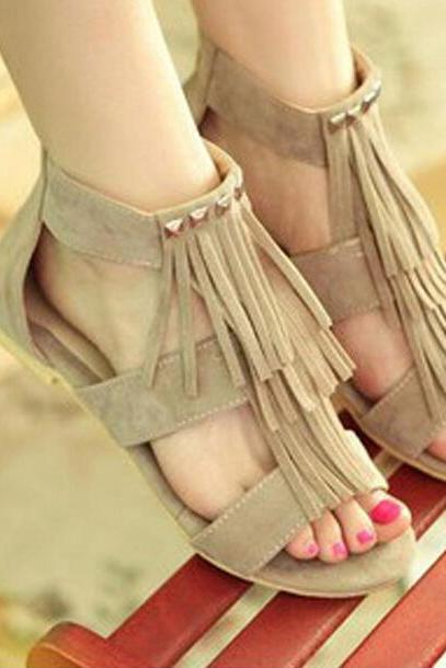 Casual zipper tassel sandals SS05215SH