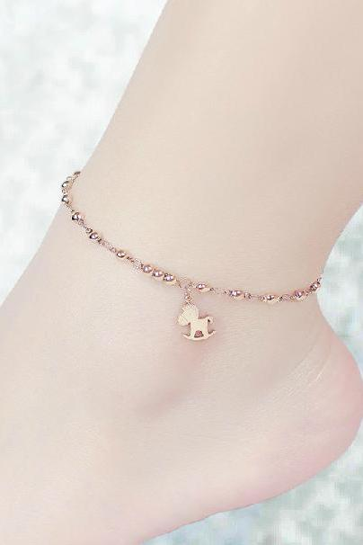Temperament trojan horse anklet Plated 18K Rose Gold