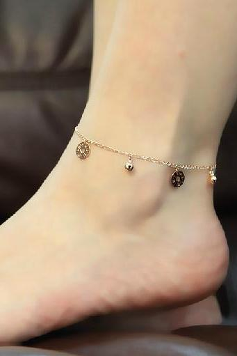 Simple currency bells anklet Titanium steel Plated 18K Rose Gold