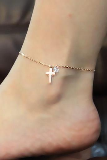 cross diamond anklet Titanium steel Plated 18K Rose Gold