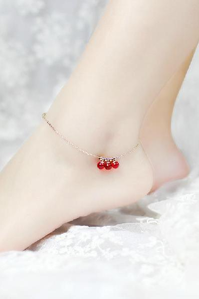 Paris jewelry show anklet elegant red beads anklet Titanium steel Plated 18K Rose Gold