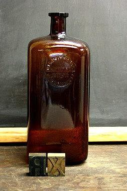 Vintage Medical Bottle / Apothecary Bottle / Amber Glass