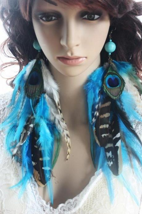 Handmade Turquoise Stone Cross Peacock Soft Feather Drop Earrings
