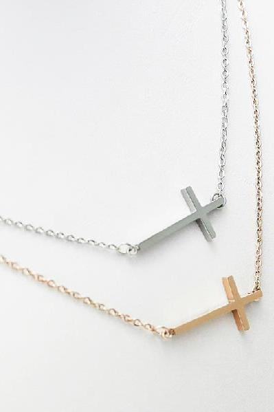 Titanium steel &18K Rose Gold Plated female short cross necklace