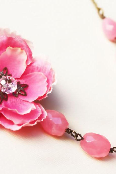 pink cherry blossom necklace, pink necklace