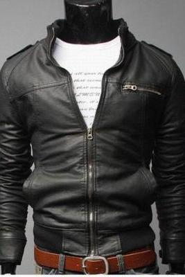 Handmade MEN Black SLIM FIT LEATHER JACKET, REAL LEATHER JACKET