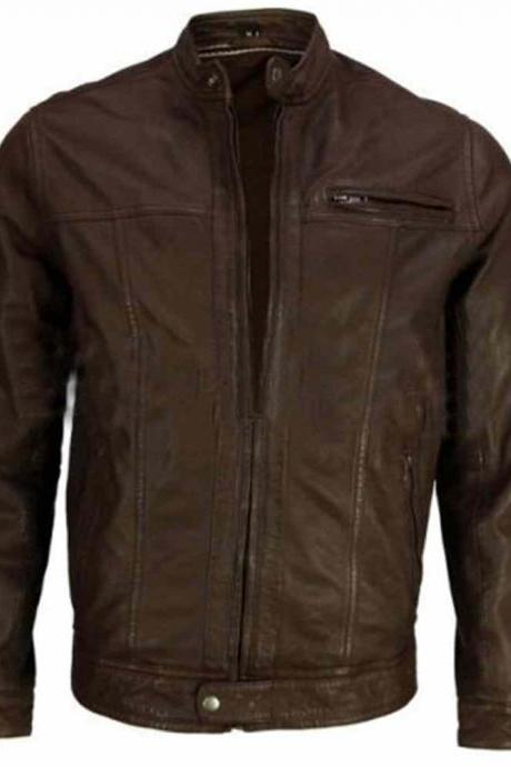 Handmade Men brown leather jacket